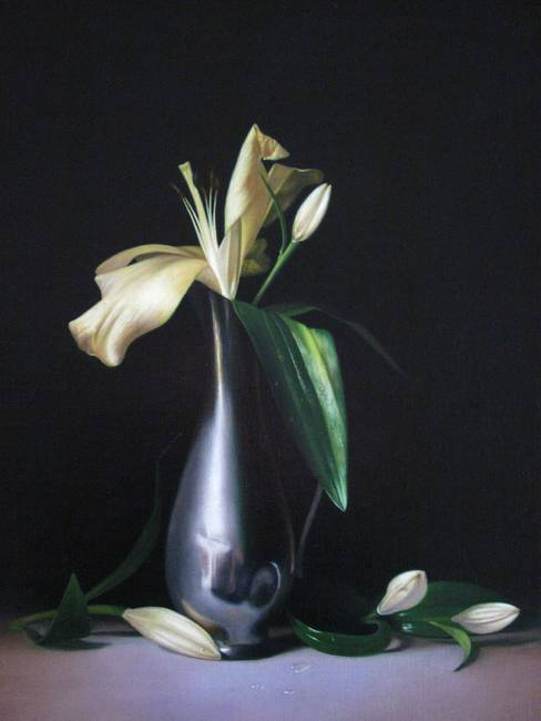 lilies and pewter vase