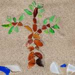 """Sea Glass Beach and Palm Tree"" by maryostudio"