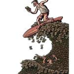 """Man Surfing on a Money Wave"" by LisaHaney"