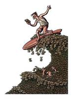 Man Surfing on a Money Wave