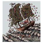 """Woman in Ship on Ocean, Sails of Flowering Trees"" by LisaHaney"