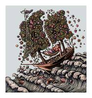 Woman in Ship on Ocean, Sails of Flowering Trees