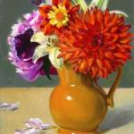 """Orange Pitcher with Flowers"" by BarbaraAllen"