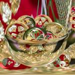 """Christmas Gold Bowl of Circles"" by tricia"