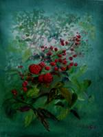 Berries Portrait in Green and Red Impressionistic