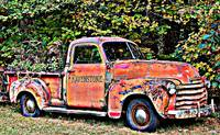 Antique Chevy Truck Crossing The Color Line