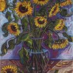 """Blue Sunflowers"" by BillOatesFineArt"