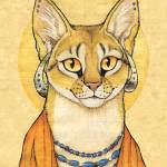 """Abyssinian Cat Portrait - Papyrus Cat"" by smbittler"