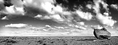 Dungeness old boat panorama black and white