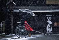 Snow falling on rickshaw
