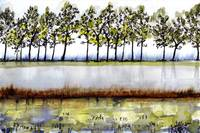 Rice Fields Watercolor & Ink by Ginette Callaway