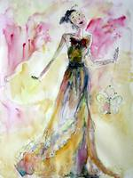 Lady from Tokyo Watercolor by Ginette Callaway
