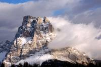 Dolomites mountain Pelmo peak in the clouds