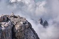 Dolomiti peaks in the clouds