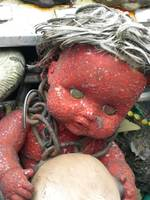red crackle art baby in chains