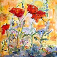 Poppies Provencale Watercolor & Ink by Ginette