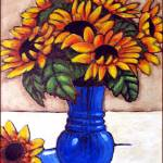"""Sunflowers in Blue Vase"" by AraWitmer"