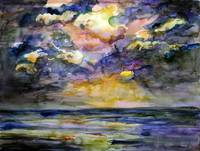 Stormy Sunrise by Watercolor Ginette