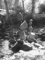 Rocks stacked in Boulder Creek uno