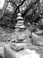 Rocks stacked next to Boulder Creek