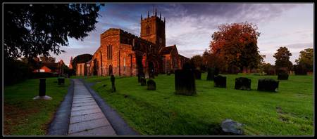 Gnosall Church Sunset Pano