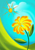 Digital painting of flower and sun.