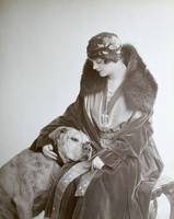 Vintage Image of Sleepy Pitbull Terrier with Woman