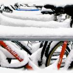 """Snow On Boulder Bikes"" by JannArtPhotography"