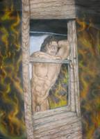 nude male in window