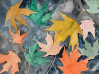 still life red maple leaf painting