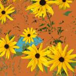 """Black Eyed Susans on Gold"" by Wendy_Ferguson"