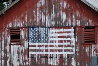 American Flag on Barn