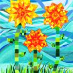 """Quilted Sunflowers"" by sharonblanchard"
