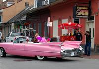 Pink cadillac in French Quarter of New Orleans