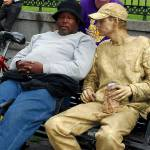 """Napping guy with Gold Man on Bench in New Orleans"" by ShutterbugCentral"
