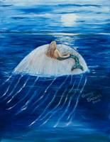 Mermaid floating on a Jelly fish