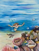 Young mermaid with baby turtles