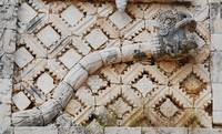 Snake on Mayan temple, Uxmal, Mexico