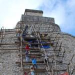 """Mayan temple repaired with scaffolding in Uxmal"" by ShutterbugCentral"
