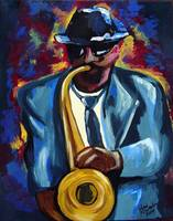 Sax Player in Blue
