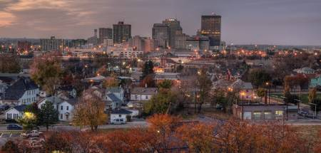 November Sunset and Dayton Skyline