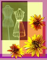 Collage from three yellow chrysanthemums
