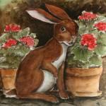 """Rabbit with Geraniums"" by revelation_art_studio"