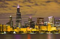Chicago Skyline at Night with Sears Willis Tower