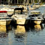 """Boats Reflected on the Harbor"" by PhotographsByCarolFAustin"