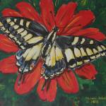 """Tiger Swallowtail on Zinnia"" by revelation_art_studio"