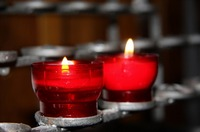 Candles in red holders