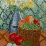 """Daisies and Fruit Basket Painting"" by catnip009"