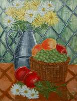 Daisies and Fruit Basket Painting