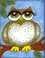 SILVER AND GOLD SPECKLED OWL